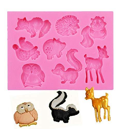 Kentop 3D Silikon Form Fondant Kuchen Form Mehrere Tierformen Schokolade Gelee Süßigkeiten Backen Formen