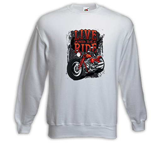 Biker Pull Live and let Ride blanc Vintage Tattoo V-Twin Chopper Blanc