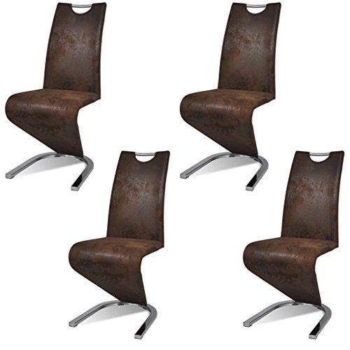 vidaXL 4x Esszimmerstuhl Freischwinger Kunstlederstühle Schwingstuhl Küchenstuhl
