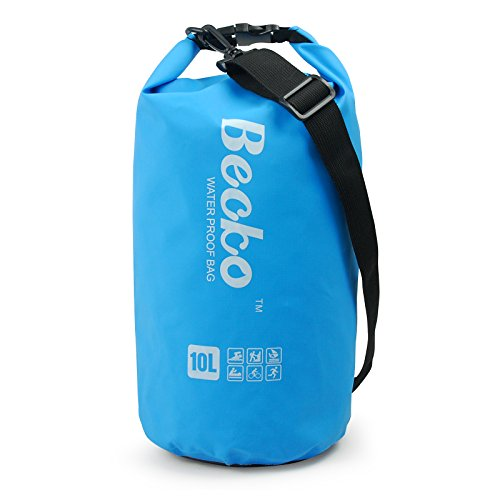 Becko Dry Bag, Waterproof Case Pouch Include Shoulder Strap for Swimming, Surfing, Fishing, Boating, Skiing, Camping and Other Outdoor Sports, Protest Your Personal Item Against Water, Rain, Snow and Sweat (Blue, 10L)