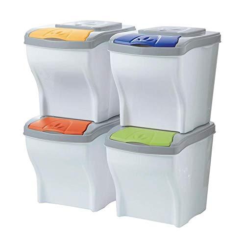 Cubo de basura para reciclaje POKER SET 4 X 20 piezas de bajo Bama LT Cubo de basura
