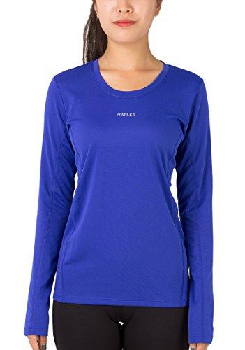H.MILES Damen Laufshirt Langarm Funktionsshirt Sport Fitness Yoga Langarmshirt Longsleeve Shirt (Shirt Mit Fisch Gelber)