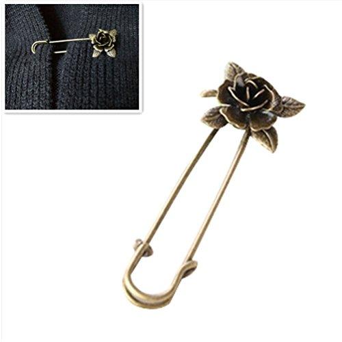 Bella Brosche Sicherheitsnadeln Sicherheitsnadel Brosche Clip Rosen Blumen Form Vintage für Damen...