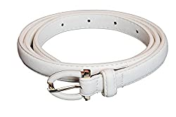 SRI Womens Causal, Party Wear Waist Belt With Designer Buckle -White