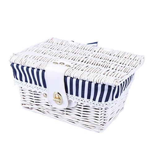 Yardwe Weidenkorb mit Deckel Verschluss Wicker Picknickkörbe Ablagekorb Aufbewahrungskorb (Weiß und Blau Streifen)