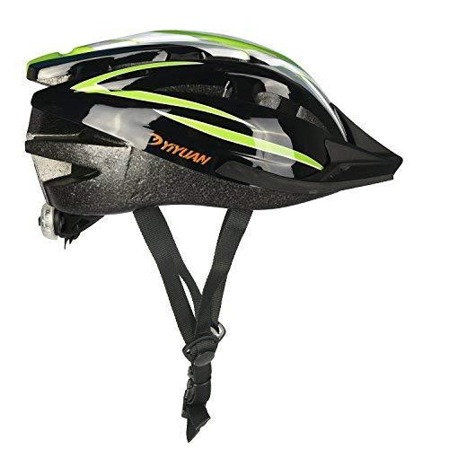 KOOPAN Fahrradhelm Erwachsener Fahrrad Sturzhelm Reithelm Mountainbike Helm mit LED Lampe Lila Blau und Rot Farbe, L (58-62cm) Y-20 (Grün Schwarz)