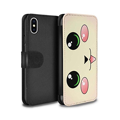 STUFF4 PU-Leder Hülle/Case/Tasche/Cover für Apple iPhone 6 / Panda Muster / Nette Kawaii Kollektion Katze/Kätzchen