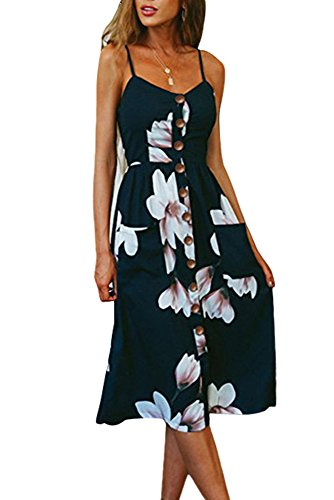 Miss Floral Women's Bardot Button Through A-Line Midi Strappy Dress 23 Style...