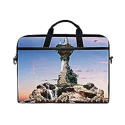 NR 15-15.4 Zoll Laptop Tasche Notebook Handtasche Umhängetasche Aktentasche,Fiktiver Zauberer-Turm-sitzendes Felsen-Insel-Haus des Magier-übernatürlichen Themas