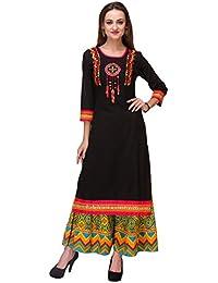 Varanga Black Cotton Cambric Embroidered Kurta With Multicolor Cotton CambricPalazzo KFF-AW15RAMA023_PZ165199