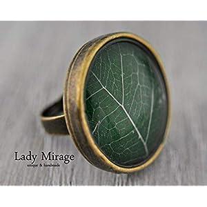 Echtes Blatt Ring Verstellbar Naturschmuck Geschenk