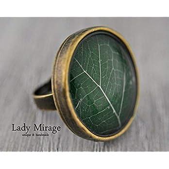 Echtes Blatt Ring Naturschmuck Valentinstag Geschenk für Sie größenverstellbar Grün Vintage Statementring