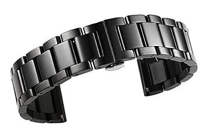 20mm de lujo acero inoxidable pulido banda de reloj acero inoxidable sólido en negro cierre recto cierre plegado