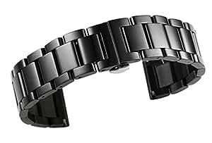 acciaio inossidabile solido 19mm sostituibili cinturini per orologi in metallo resistente in nero con collegamenti rimovibili