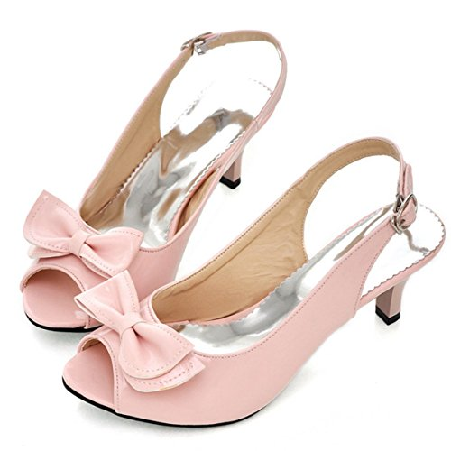 b7b5da1701d4f3 Kaloosh Women s Beautiful Peep Toe Kitten Heel Bowtie Slingback Shoes Party  Dress Sandals Pink