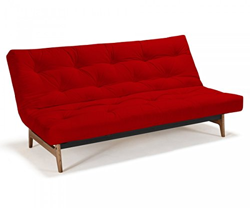 Futonsofa Aslak - Schlafsofa 140 x 200 cm mit Futon & Lattenrost, Farbe und Futon wählbar, Futonfarbe:Rot, Futonauflage:Futon Nagaoka Latex