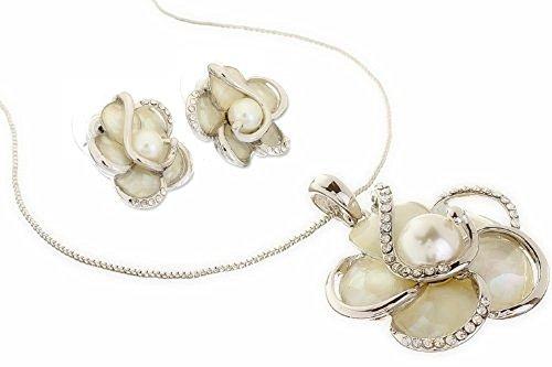 Fiore e cristalli Swarovski, madre di perla gioielli set. Rigida Fiore Ciondolo e orecchini in coordinato. Disponibile in oro rosa 14K, argento rodiato e oro 14K, argento, colore: oro/rosa, cod. jstSLV1001
