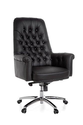 FineBuy-Brostuhl-Highboy-Echtleder-Schwarz-Schreibtischstuhl-150kg-Multiblockmechanik-Kopfsttze-Chefsessel-hhenverstellbar-Wippfunktion-Drehstuhl-Chesterfield-Design-Drehsessel-hohe-Rckenlehne-X-XL