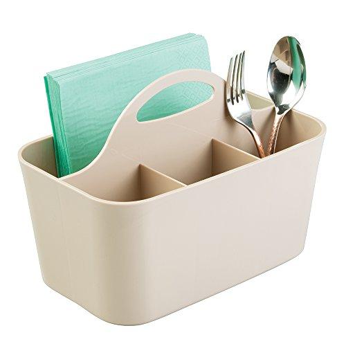 mDesign porte-ustensiles de cuisine en taupe – rangement de cuisine pour couverts – support avec 4 compartiments pour le rangement de couverts, serviettes de table et Cie – panier de rangement avec poignée, range-couverts