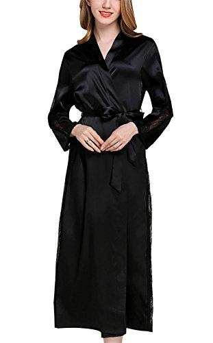 FEOYA Damen Seide Morgenmantel Bademantel Elegant Langarm Nachtkleid V Ausschnitt Sleepwear Nachtwäsche mit Gürtel - Schwarz