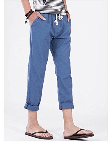 Pantalon homme en lin style décontractés Bleu