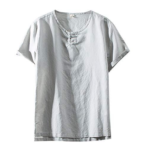 Ginli Uomo Camicia in Lino Taglie Forti, Estate Elegante Maglietta a Manica Corta Spiaggia Regular Fit Uomo Colore Puro Classico Lavoro Shirts M-XXXXL