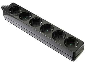 as - Schwabe 11712 Bloc multiprise 6prises à visser, sans câble pour un usage en intérieur d'après la norme IP20 Noir