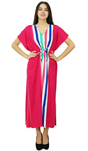 Damen Baumwolle Kaftane (Bimba Magenta lange Baumwolle Kaftan Feiertags-Strand-Vertuschung-Damen Kaftan Maxi Kleid-Kleid)