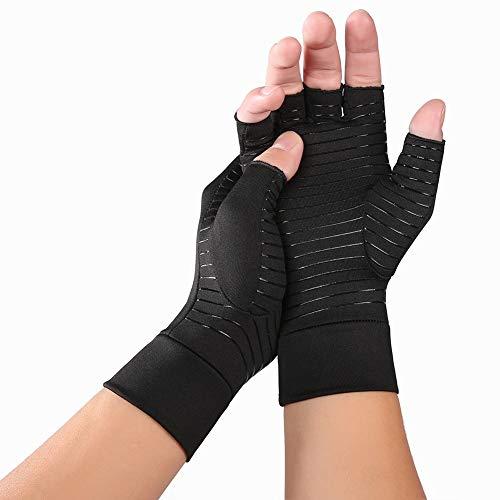 VIWIV Indoor Sports Kupferfaser Im Gesundheitswesen Halbfinger Handschuhe Rehabilitation Arthritis Druckhandschuhe Schmerzmittel Relief Hohe Bounce Atmungsaktiv,M
