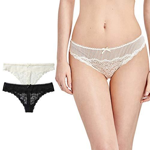 Mesh-low Rise Thong Panty (DOBREVA Damen G-String T-Back Low Rise Tangas Sexy mit Spitze Schwarz/Elfenbein XL)