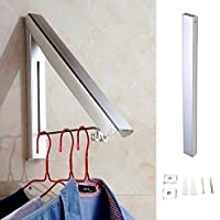 sinzau Foldable Clothes Rack, Wall Mounted Folding Hanger, for Indoor and Outdoor Drying Clothes