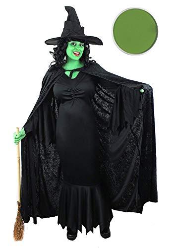 eid mit Velours Cape + schwarz Hexe Hat + Grün Facepaint in Größen XS-XXL ()