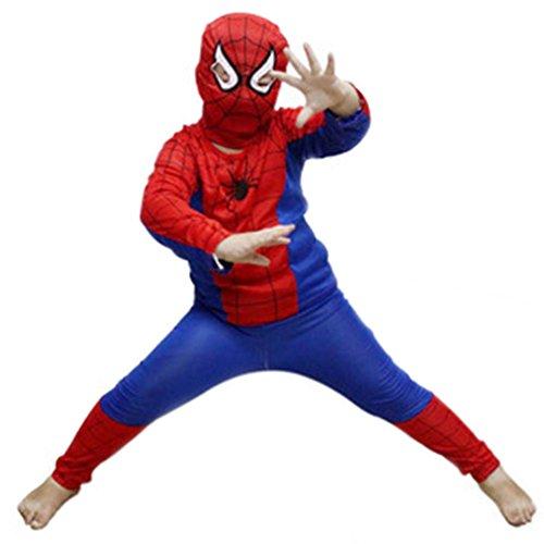 LAEMILIA Halloween Kinder Spiderman Kostüm Maske Kleidung Set Overall Weihnachten Fasching Cosplay Karneval (Kostüme Spiderman)
