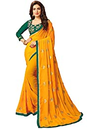 Vastrang Womens Georgette Embroidered Saree WIth Lace Border & Blouse Piece CRTR(Yellow_Green_Free Size)