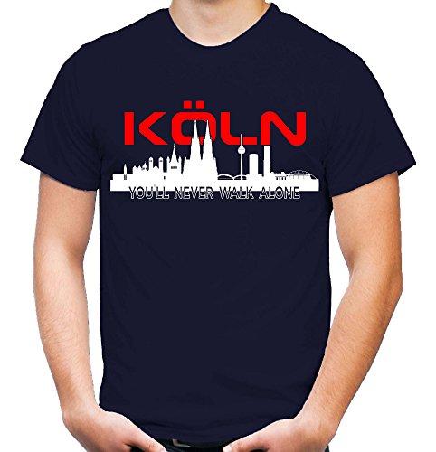 Köln Skyline Männer und Herren T-Shirt | Fussball Ultras Cologne Geschenk (L, Navy)