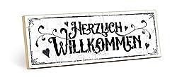 TypeStoff Holzschild mit Spruch - HERZLICH WILLKOMMEN - im Vintage-Look mit Zitat als Geschenk und Dekoration zum Thema Zuhause und Begrüßung (9,5 x 28,2 cm)