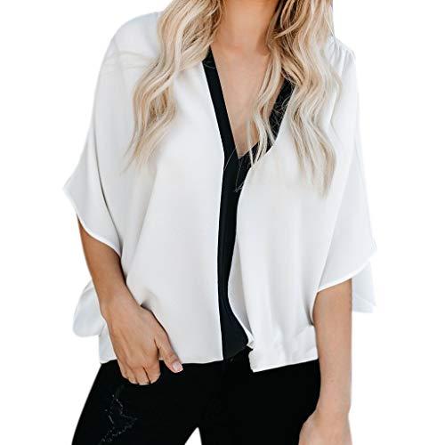 MERICAL Art- und Weisefrauen schließen Hülsen-V-Ansatz Patchwork-T-Stück beiläufige populäre Blusen-Oberseiten kurz(Weiß,Medium)