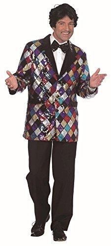 Glitzer Jacke bunt für Herren | Größe 54 | 1-teiliges Sakko Kostüm | Glamour Faschingskostüm für Männer | Pailletten Jacket für Karneval