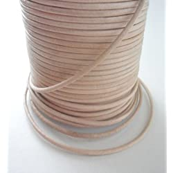 Auroris 50m Rollo Cinta de Piel, Redondo 2mm de diámetro, Natural