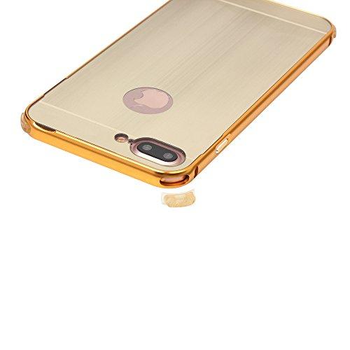UKDANDANWEI Apple iPhone 7 Plus Coque Étui - Hybrid Housse Aluminium Métal Bumper Cadre Case+ PC(Polycarbonate) Arrière Cover pour Apple iPhone 7 Plus - Rose Gold Argenté