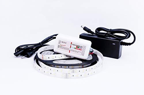 RGBW LED-Streifen 5 Meter 300LEDs | 4in1 - (RGB+4000K) in einer LED | inkl. Controller, Funk-Fernbedienung & Netzteil | IP65 Wasserfest