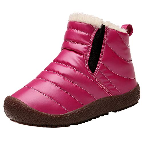 Beichuang Kids Snow Boots Boys Girls Winter Fur Lined Warm Waterproof Ankle Booties Shoes