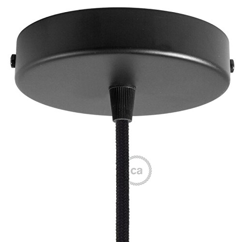 Kit Rosace Cylindre Noir Mat avec Serre-câble Conique Noir