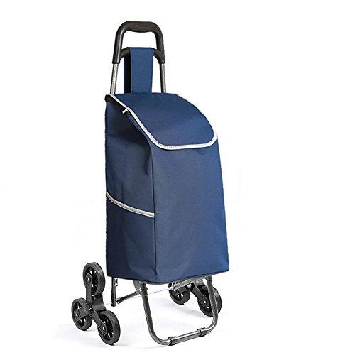 M&L Warenkorb, 6-Rad Falten Treppe Klettern Aluminium-Legierung Cart Save Lebensmittelgeschäft Utility Cart mit Rad-Lager für Go Up und Down Treppen , blue (Push Cart Für Lebensmittel)