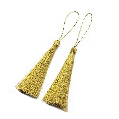 ZALING Quaste Fransen Seidenfaden Lange Quasten Dekorative für Schmuck DIY Chinesischen Knoten Vorhänge Kleidung Gold -
