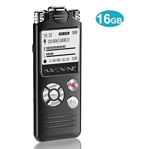 Digitales Diktiergerät,KAYOWINE 16GB 1536Kbps mit deutsche Schnittstelle Digitalrecorder Diktiergerät Spracherkennung Lautsprecher für Büro Schule Interviews