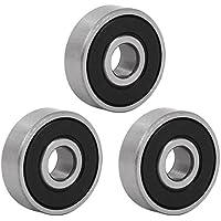 sourcingmap 3 piezas de acero inoxidable 19mmx6mmx6mm goma sellada rodamiento rígido de bolas