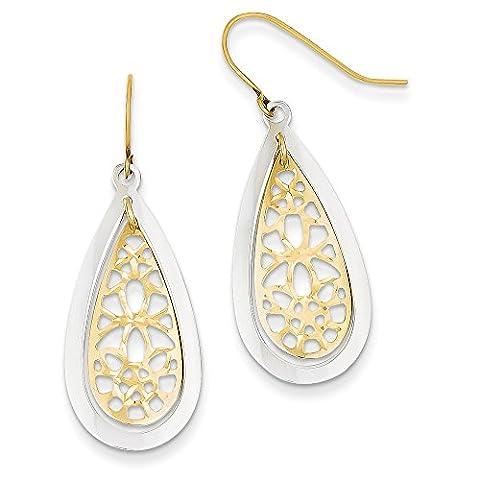 14ct Two-Tone Gold Diamond-cut Polished Fancy Dangle Earrings
