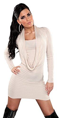 Koucla Damen Strickkleid & Pullover mit Ausschnitt in Wasserfall-Optik Einheitsgröße (32-38), creme