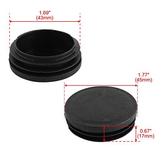 NEGRO di/ámetro 35 mm 4 piezas Contera redonda acanalada para tubos ajile EPR135-M